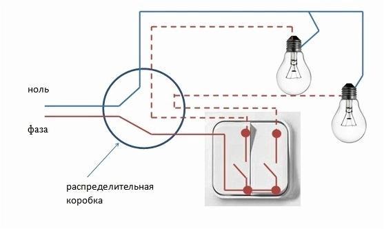 Если вы вожделели бы включать несколько лампочек, поделив освещение на две зоны, применяйте двухклавишный выключатель.
