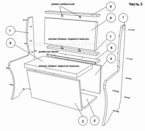 Угловой диван своими руками чертежи на кухню